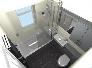Top-corner view of a CAD bathroom